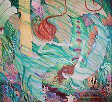 Mermaids in Atlantis from the original fantasy painting  by Liza Paizis