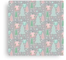 Christmas grey pattern Canvas Print
