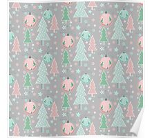 Christmas grey pattern Poster