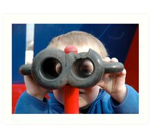 Child with Pretend Binoculars Art Print