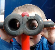 Child with Pretend Binoculars by Richard Lack