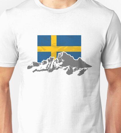 Sweden - Flag & Mountains Unisex T-Shirt