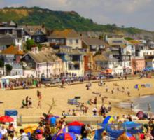 A Crowded Beach Sticker