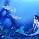 Ultramarine Mermaid & Dolphins by Rachel Anderson