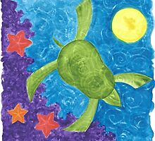MARY'S HONU SEA TURTLE SWIMS DEEP by dkatiepowellart