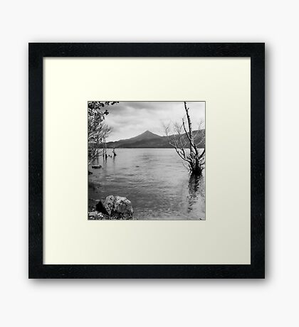 Loch Rannoch and Schiehallion, black and white Framed Print