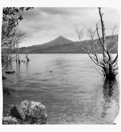 Loch Rannoch and Schiehallion, black and white Poster