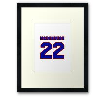 National Hockey player Al McDonough jersey 22 Framed Print