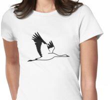 Crane bird Womens Fitted T-Shirt