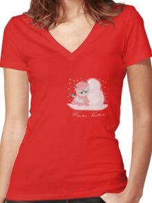 Winter Kitten Women's Fitted V-Neck T-Shirt