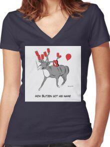 Blitzen the Christmas Reindeer Women's Fitted V-Neck T-Shirt