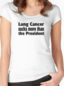 Lung Cancer sucks more than the President Women's Fitted Scoop T-Shirt