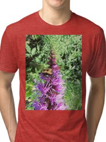 Macro Bumble Bee On Purple Flower Tri-blend T-Shirt