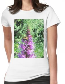 Macro Bumble Bee On Purple Flower Womens Fitted T-Shirt