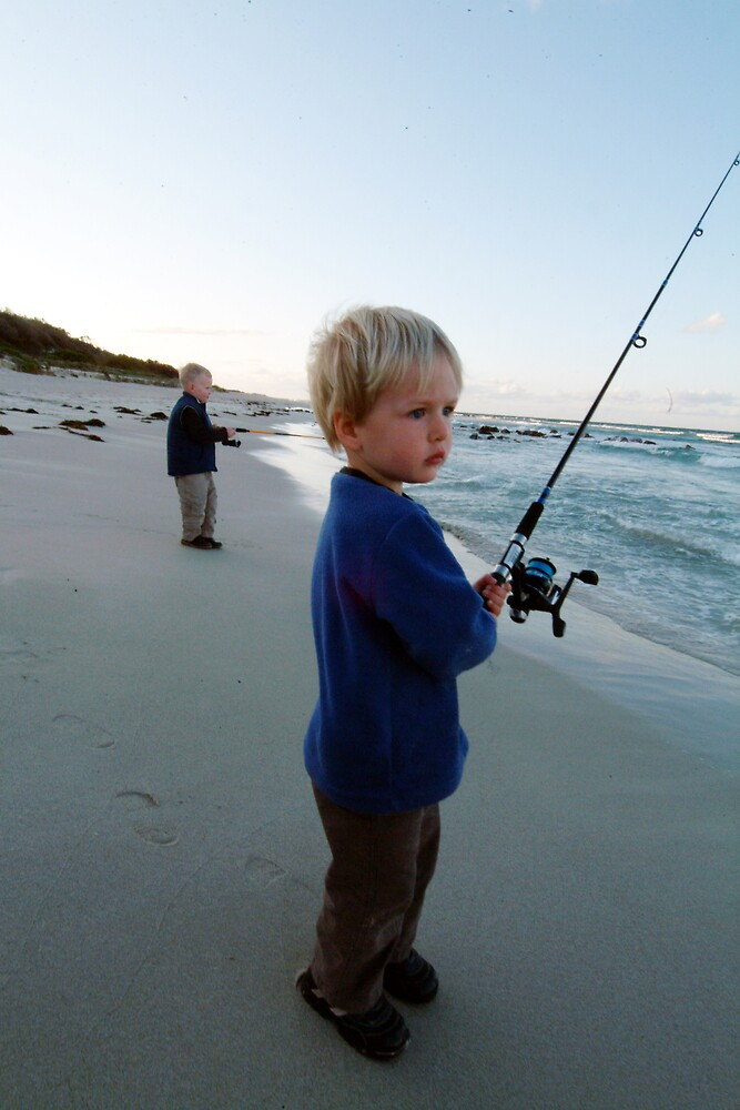 kids fishing eagle bay at dusk by nick page