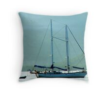 boat and man Throw Pillow
