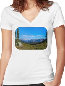Country mountain view Women's Fitted V-Neck T-Shirt