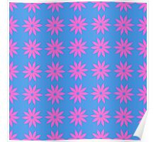 Pink flowers on Blue background Poster
