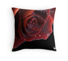Red Rose with Waterdrops Throw Pillow