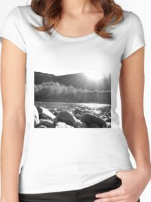 Black And White Landscape 5  Women's Fitted Scoop T-Shirt