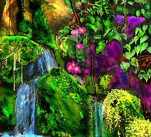 WATERFALLS WITH TINY ORCHIDS LOUNGING by miguel