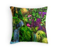 WATERFALLS WITH TINY ORCHIDS LOUNGING Throw Pillow