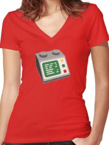 Toy Brick Computer Console Women's Fitted V-Neck T-Shirt