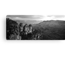 The Three Sisters Katoomba NSW in Black & White Canvas Print