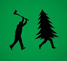 Funny Christmas tree is chased by Lumberjack / Run Forrest, Run! by badbugs