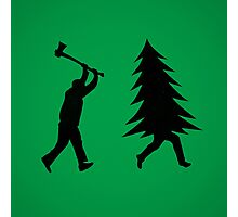 Funny Christmas tree is chased by Lumberjack / Run Forrest, Run! Photographic Print