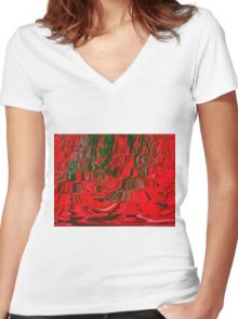 Red and Green Flowing Ribbon Design Pattern Holiday Christmas Women's Fitted V-Neck T-Shirt