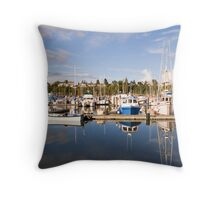 Small Motorboat with Yachts Throw Pillow