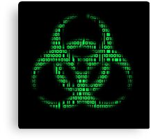 Binary Biohazard (Green) Canvas Print