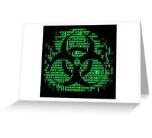 Binary Biohazard Symbol (Green) Greeting Card