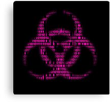 Binary Biohazard (Pink) Canvas Print