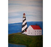 Lighthouse and White House Photographic Print