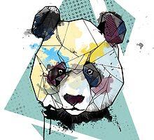 Geometric Watercolor Panda Bear by graphicward