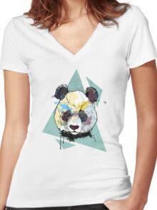 Geometric Watercolor Panda Bear Women's Fitted V-Neck T-Shirt