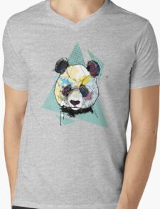 Geometric Watercolor Panda Bear Mens V-Neck T-Shirt