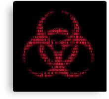 Binary Biohazard (Red) Canvas Print
