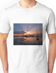 Boats in an amazing sunset Unisex T-Shirt