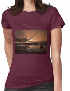 Boats in an amazing sunset Womens Fitted T-Shirt