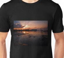Boats in an amazing dramatic sunset Unisex T-Shirt