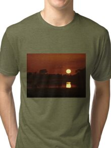 Boat in amazing sunset Tri-blend T-Shirt