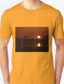 Boat in amazing sunset Unisex T-Shirt