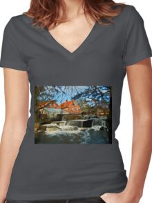 Beautiful Waterfall Country Landscape Denmark Women's Fitted V-Neck T-Shirt