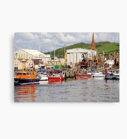 Girvan Harbour Canvas Print