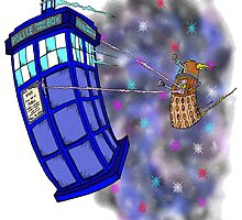Dalek hitching a ride on the Tardis by Skree