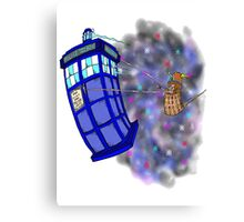 Dalek hitching a ride on the Tardis Canvas Print