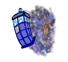 Dalek hitching a ride on the Tardis Photographic Print